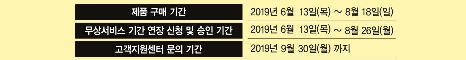 2019여름 프로모션 정품등록 이벤트 날짜 안내