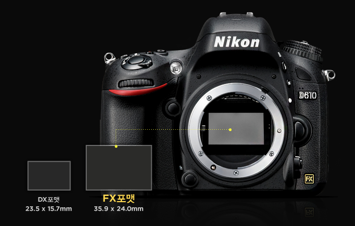 35.9 x 24.0mm 크기의 대형 FX포맷 센서 탑재