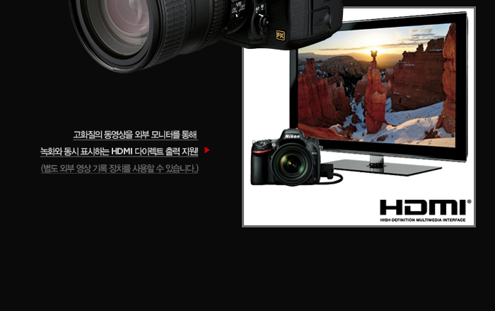 고화질의 동영상을 외부 모니터를 통해 녹화와 동시 표시하는 HDMI 다이렉트 출력 지원!(별도 외부 영상 기록 장치를 사용할 수 있습니다.)