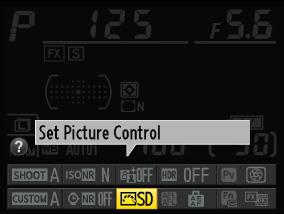 Set Picture Control이 표시된 액정 모니터 이미지