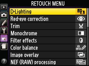 화상 편집 메뉴가 표시된 액정 모니터 이미지