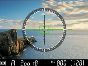 가상 지평선 표시 기능이 실행된 액정 모니터 예시 이미지