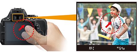 터치 패널 슬라이드로 초점 포인트 이동 기능 설명 이미지
