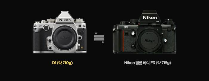 니콘의 필름 바디 F3와 비슷한 부피와 무게로 설계
